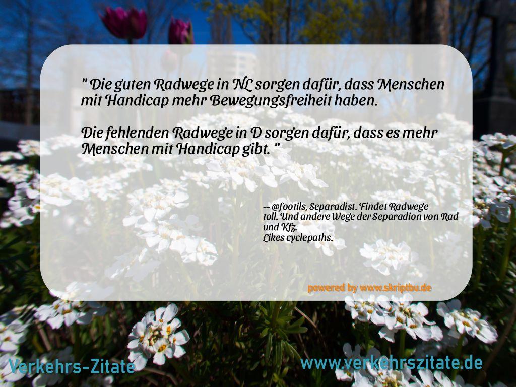 Die guten Radwege in NL sorgen dafür, dass Menschen mit Handicap mehr Bewegungsfreiheit haben.  Die fehlenden Radwege in D sorgen dafür, dass es mehr Menschen mit Handicap gibt., @footils, Separadist. Findet Radwege toll. Und andere Wege der Separadion von Rad und Kfz. Likes cyclepaths.