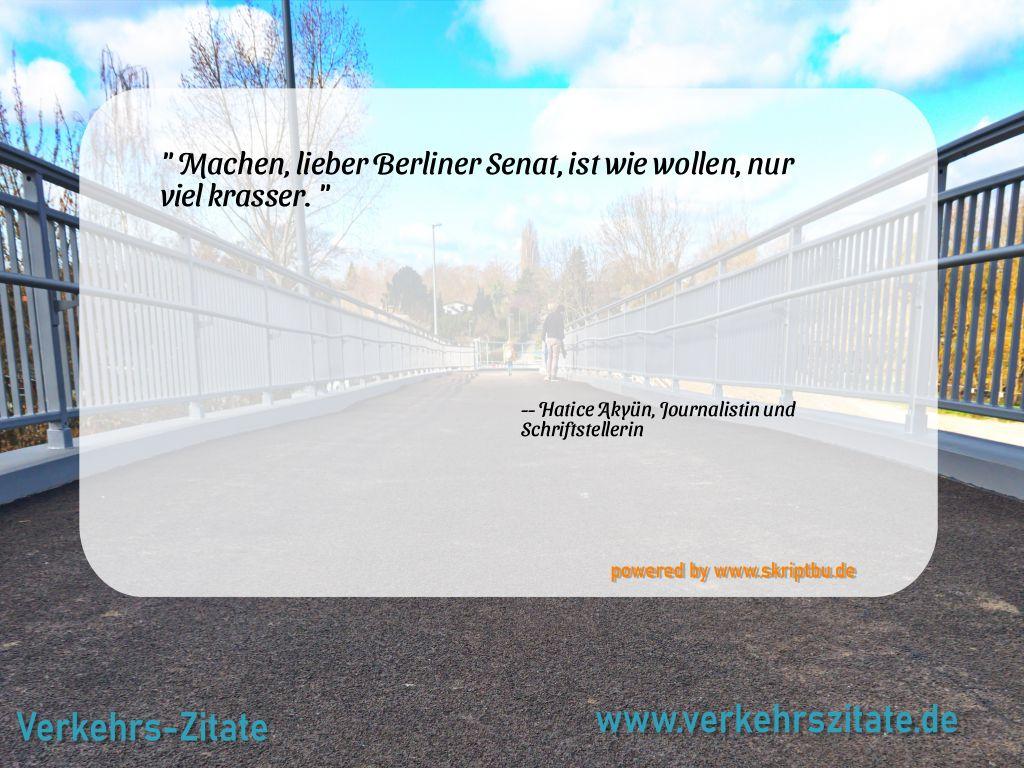 Machen, lieber Berliner Senat, ist wie wollen, nur viel krasser., Hatice Akyün, Journalistin und Schriftstellerin